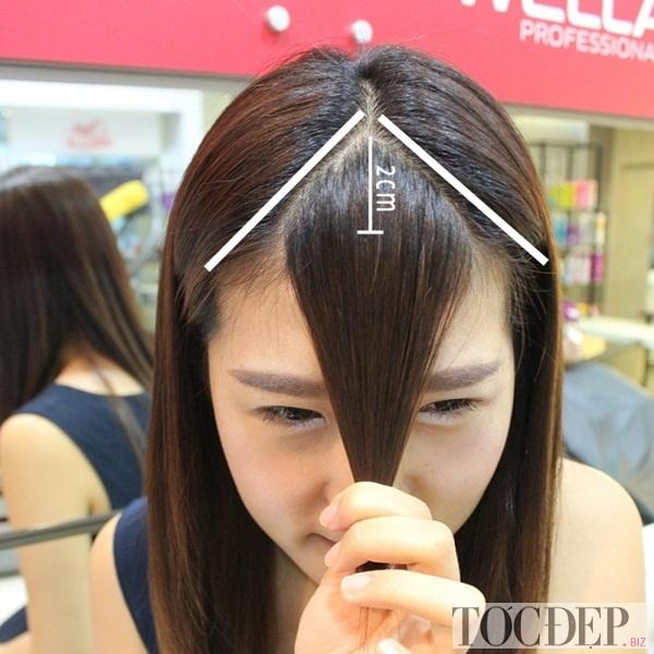 Gom tóc trước trán
