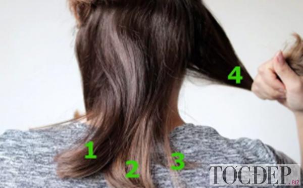 chải tóc thành nhiều phần bằng nhau