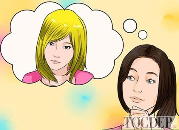nhuộm tóc màu vàng rêu