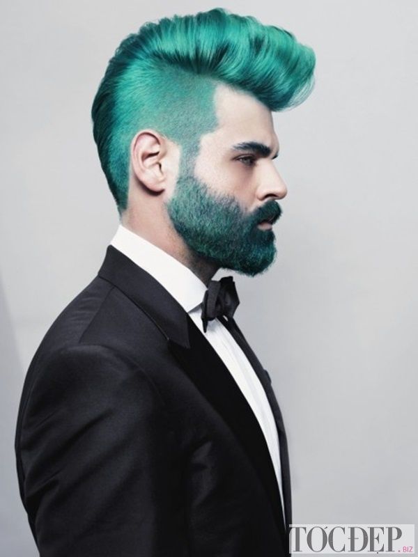 nhuộm tóc màu xanh rêu