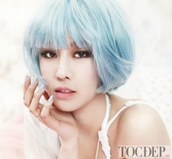 tóc xanh dương pastel