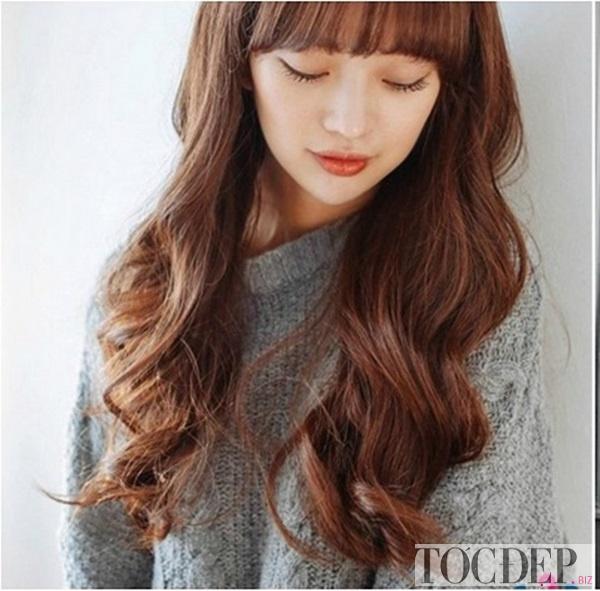 tóc dài xoăn sóng