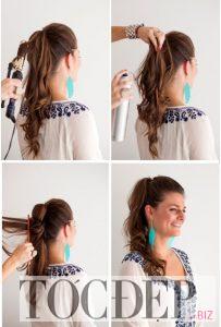 tóc xoăn đuôi buộc cao